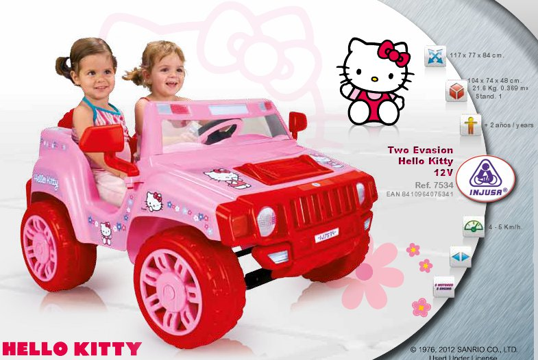 Coche Hello Kitty 12v Two Evasion 2 Plazas Juguete Bateria Ideal